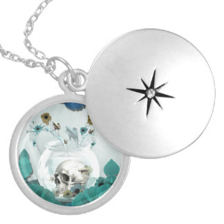 Looking glass, skull in fish bowl round locket necklace