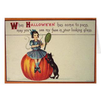 Looking Glass (Vintage Halloween Card) Greeting Card