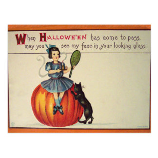 Looking Glass (Vintage Halloween Card) Postcard