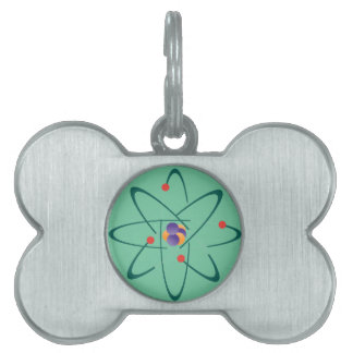 Looking InTime Atoms On Sea Green Background Sci Pet ID Tags