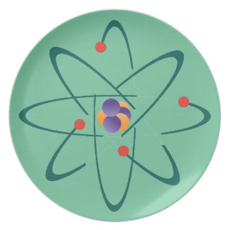 Looking InTime. Atoms On Sea Green Background. Sci Party Plate