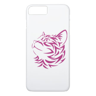 Looking Left Cat Kitten Face Stencil iPhone 8 Plus/7 Plus Case