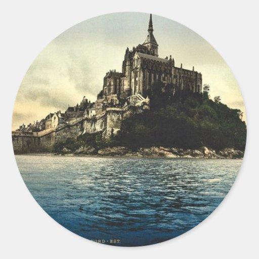 Looking northeast at high water, Mont St. Michel, Round Sticker