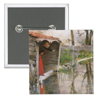 Looking Out at the Canal Pinback Buttons