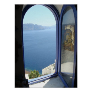 Looking Out in Santorini Poster