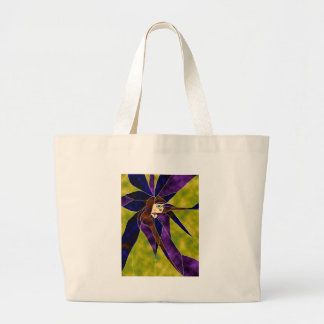 Looking out of Stained Glass Large Tote Bag