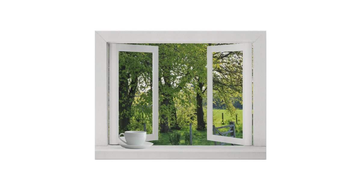 Looking Out On Green Open Window View With Trees Poster