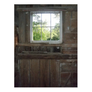 Looking Out the Barn Window Photo Postcard