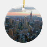 Looking South from Top of the Rock New York City Double-Sided Ceramic Round Christmas Ornament