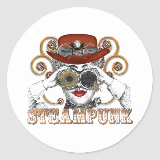 looking steampunked steampunk collage art classic round sticker