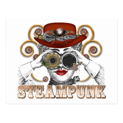 looking steampunked steampunk collage art post card