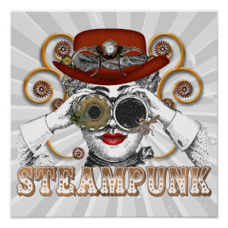 looking steampunked steampunk collage art poster