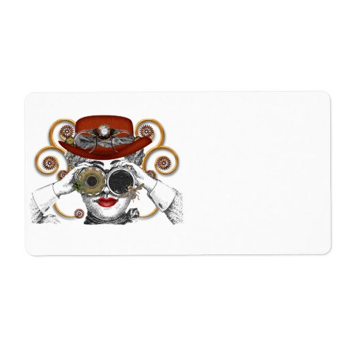 looking steampunked steampunk dude shipping label