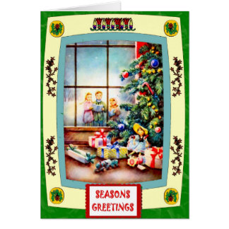 Looking through the Christmas window Greeting Card