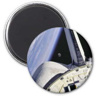 Looking Thru Rear View Mirror From Space Shuttle 2 Inch Round Magnet