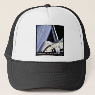 Looking Thru Rear View Mirror From Space Shuttle Trucker Hat