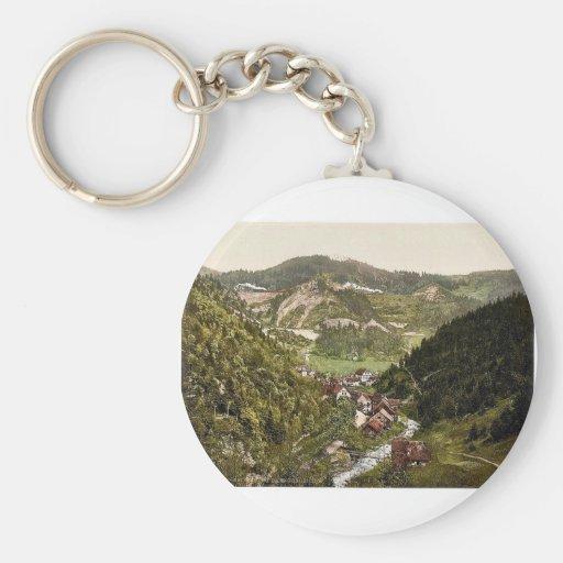 Looking towards the railroad near Treiberg, Treibe Basic Round Button Keychain