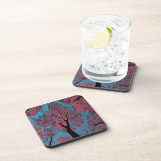 Looking Up at a Blue Sky & Pink Tree Drink Coaster