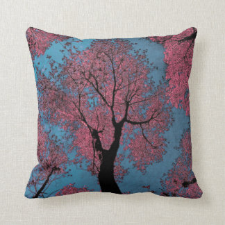 Looking Up at a Blue Sky & Pink Trees Throw Pillow