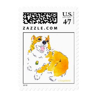 Looking Up Corgi Stamp
