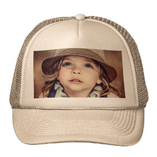 Looking up Girl Hat Vintage Portrait
