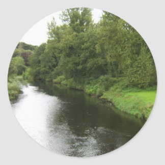 Looking Up The River Liffey From The Bridge In Kil Classic Round Sticker