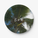 Looking Up to Coconut Palm Tree Tropical Nature Paper Plate