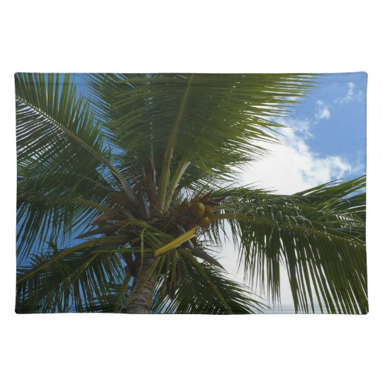 Looking Up to Coconut Palm Tree Tropical Nature Placemat
