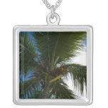 Looking Up to Coconut Palm Tree Tropical Nature Silver Plated Necklace