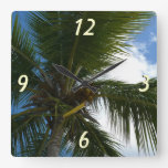 Looking Up to Coconut Palm Tree Tropical Nature Square Wall Clock
