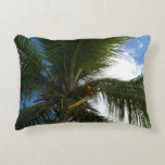 Looking Up to Coconut Palm Tropical Beach Accent Pillow