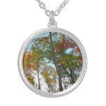 Looking Up to Fall Leaves I Colorful Fall Foliage Silver Plated Necklace
