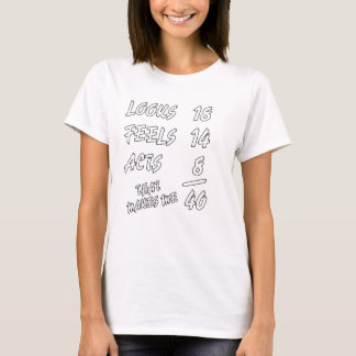 Looks 18 Feels 14 Acts 8 That Makes Me 40 Funny T-Shirt