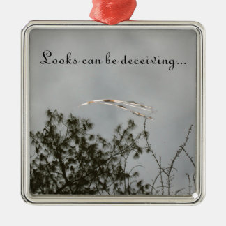 Looks can be deceiving. metal ornament