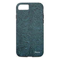 Looks Like Blue Tooled Leather Personalized iPhone 8/7 Case