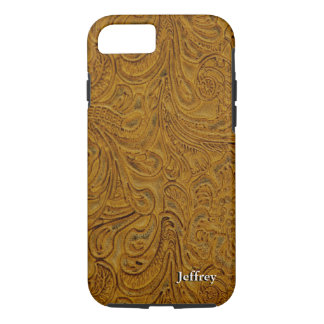 Looks Like Brown Tooled Leather Personalized iPhone 8/7 Case