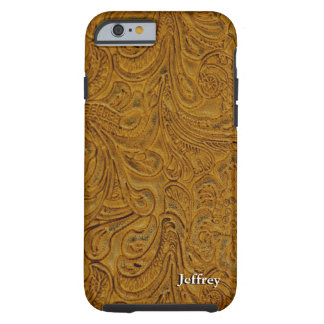 Looks Like Brown Tooled Leather Personalized Tough iPhone 6 Case