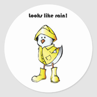 Looks Like Rain Duck Chicken Cartoon Classic Round Sticker