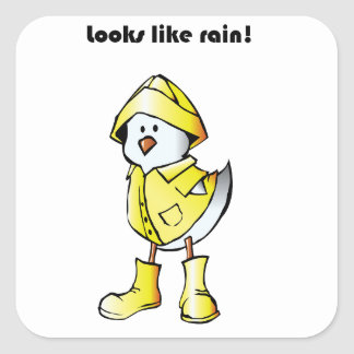 Looks Like Rain Duck Chicken Cartoon Square Sticker