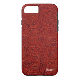Looks Like Red Tooled Leather Personalized iPhone 8/7 Case