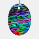 Loom bands 2 Double-Sided oval ceramic christmas ornament