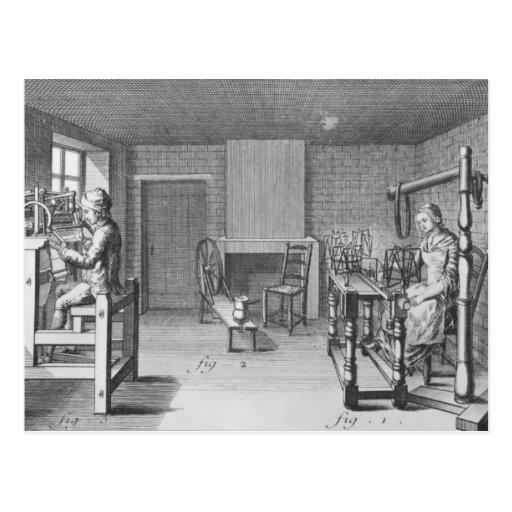 Loom for weaving stockings postcard