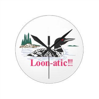 Loon-atic Round Clock