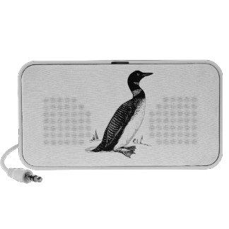Loon Bird Illustration Notebook Speakers
