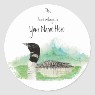 Loon Book Plate to Customize sticker
