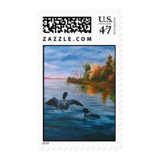 Loon Dance Postage Stamp