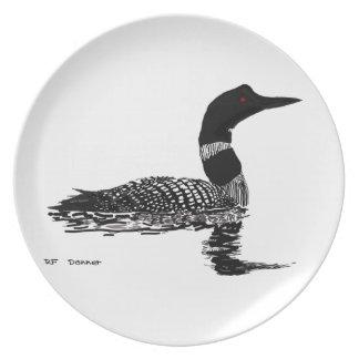 Loon hand drawn set piece plates
