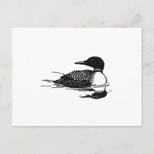Loon Line Art postcard