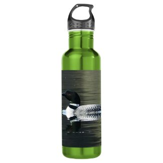 Loon on a mountain lake 24oz water bottle