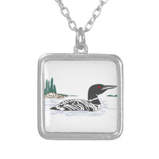 Loon Square Pendant Necklace